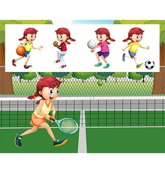 Girl doing different sports vector image