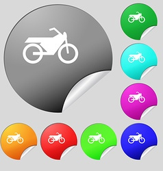 Motorbike icon sign set of eight multi colored vector