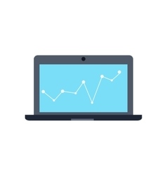 Laptop monitor business graph and chart vector