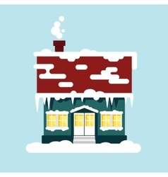 Winter cozy house isolated christmas time happy vector