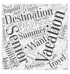Popular summer vacation destinations for seniors vector