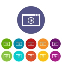 Program for video playback set icons vector