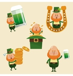 set leprechaun st patrick day vector image