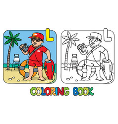 Lifeguard coloring book alphabet l profession abc vector