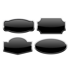 Decorative buttons with chrome frame black icons vector