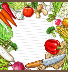 Vegetables design for recipe blank note vector