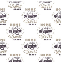 Surfing old style car pattern design summer vector