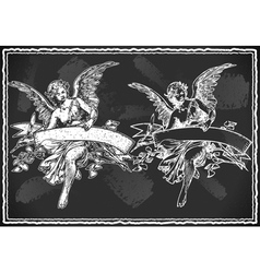 Angel with holding a banner on vintage blackboard vector