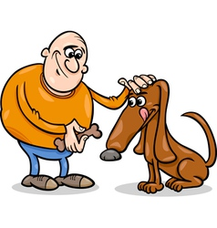 Man and dog cartoon vector