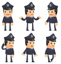 set of policeman character in different poses vector image