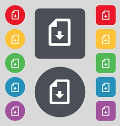 Import download file icon sign a set of 12 colored vector