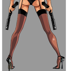 Woman in stockings with guns vector