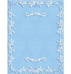 Blue vintage background with floral vector