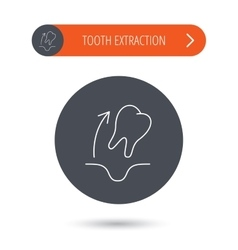Tooth extraction icon dental paradontosis sign vector