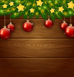 Christmas ornament and wooden background vector