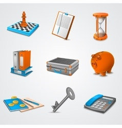 Business realistic icons vector