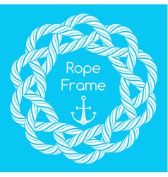 White rope decorative round frame vector