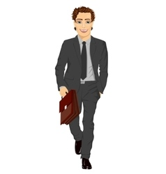 Business man with briefcase walking forward vector