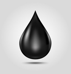 Black oil drop isolated on light grey background vector