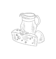Cheese milk and bread hand drawn realistic sketch vector