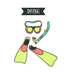 Colorful of diving mask snorkel and pair of vector