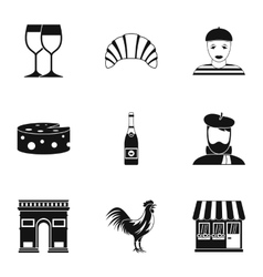 Country of france icons set simple style vector
