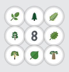 Flat icon bio set of wood foliage forest and vector