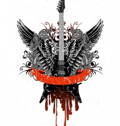 guitar with wings vector image vector image