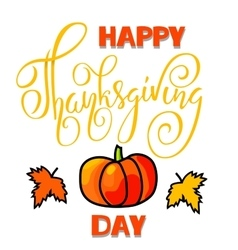 Happy Thanksgiving Day lettering Handwritten vector image