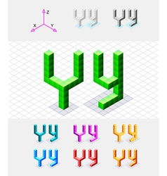 Isometric font from the cubes Letter Y vector image
