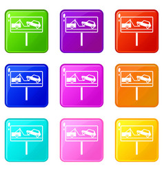 no parking sign icons 9 set vector image