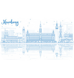 Outline hamburg skyline with blue buildings and vector
