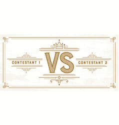retro versus letters vs logo competition symbol vector image