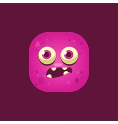 Scared pink monster emoji icon vector