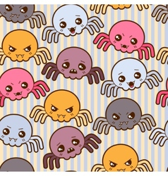 Seamless kawaii cartoon pattern with cute spiders vector