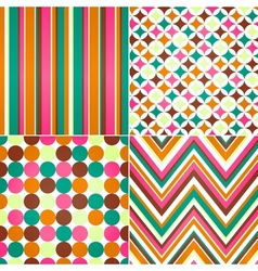 seamless stripes zig zag and polka dots backgroun vector image