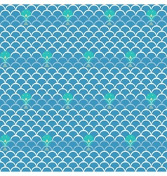Seamless wave with fish pattern background vector image vector image