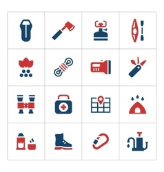 Set color icons of camping vector image vector image