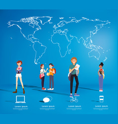 set of students with gadgets on map background vector image vector image
