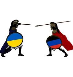 Ukrainian and pro russian warriors vector