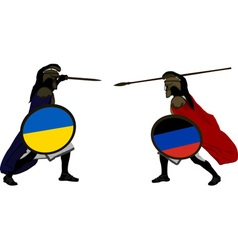 Ukrainian and pro Russian warriors vector image