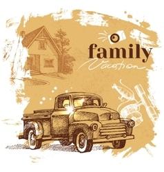 Vintage hand drawn sketch family vacation vector