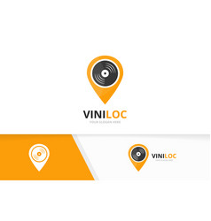 Vinyl and map pointer logo combination vector