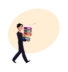 Young businessman overloaded with document folders vector