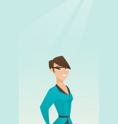 Young caucasian woman wearing smart glasses vector