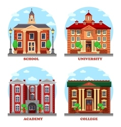 School and university academy college buildings vector