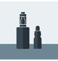 Electronic cigarette with liquid in the vector
