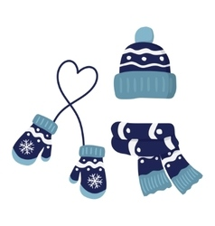 Winter knitted mittens hat and scar set in blue vector