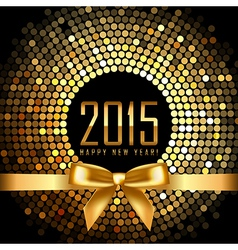 2015 background with gold disco lights and ribbon vector image