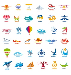 biggest collection of logos flights vector image